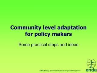 Community level adaptation for policy makers