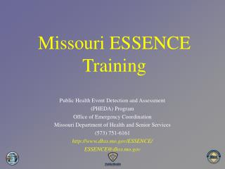 Missouri ESSENCE  Training