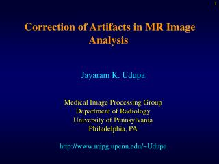 Correction of Artifacts in MR Image Analysis