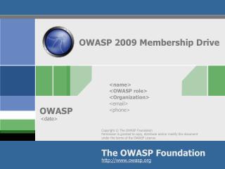 OWASP 2009 Membership Drive