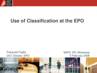 Use of Classification at the EPO