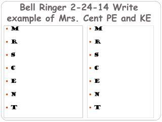 Bell Ringer 2-24-14 Write example of Mrs. Cent PE and KE