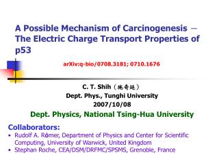 A Possible Mechanism of Carcinogenesis  -  The Electric Charge Transport Properties of p53