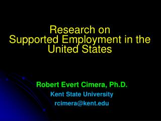 Research on Supported Employment in the United States