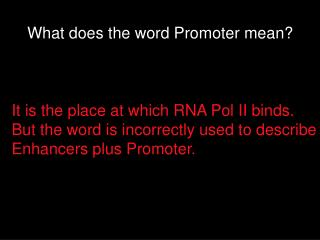 What does the word Promoter mean?