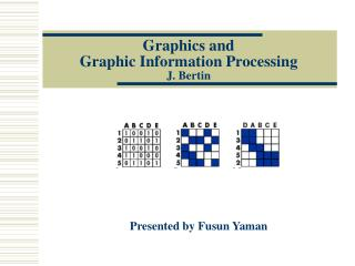 Graphics and  Graphic Information Processing  J. Bertin