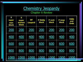Chemistry Jeopardy Chapter 6 Review