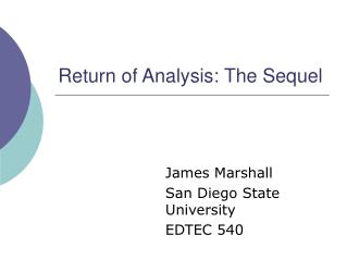 Return of Analysis: The Sequel