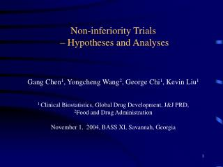 Non-inferiority Trials  – Hypotheses and Analyses