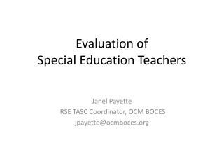 Evaluation of  Special Education Teachers