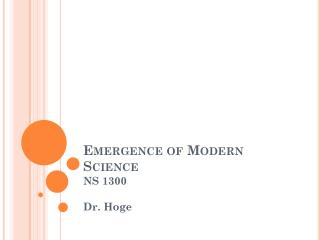 Emergence of Modern Science