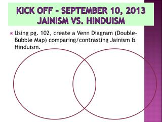 Kick off – September 10, 2013 Jainism  vs. Hinduism
