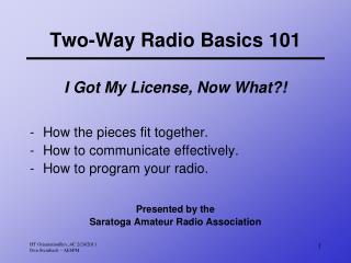 Two-Way Radio Basics 101