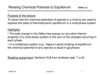 Relating Chemical Potential to Equilibrium         SVNA 11.2