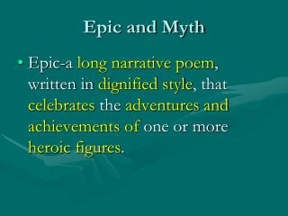 Epic and Myth