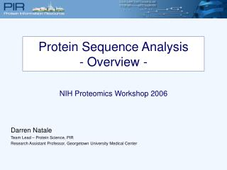 Protein Sequence Analysis - Overview -