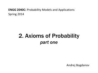 2. Axioms of Probability part one