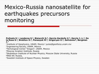 Mexico-Russia nanosatellite for earthquakes precursors monitoring