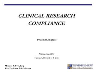 CLINICAL RESEARCH COMPLIANCE