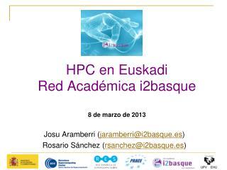 HPC en Euskadi Red Académica i2basque 8 de marzo de 2013