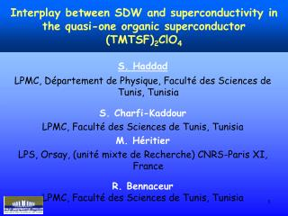 S. Haddad LPMC, D�partement de Physique, Facult� des Sciences de Tunis, Tunisia S. Charfi-Kaddour