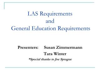 LAS Requirements and  General Education Requirements