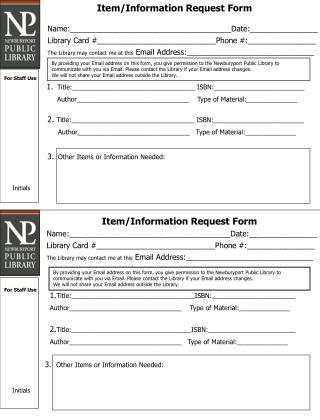 Item/Information Request Form