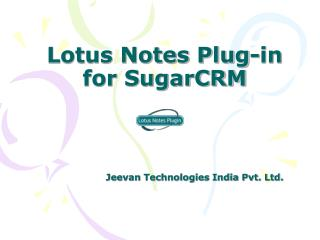 Lotus Notes Plug-in for SugarCRM