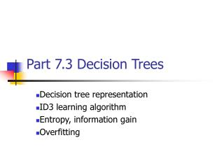 Part 7.3 Decision Trees