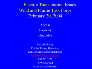 Electric Transmission Issues Wind and Prairie Task Force February 20, 2004
