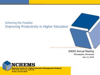 Achieving the Possible: Improving Productivity in Higher Education