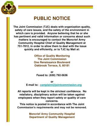 Joint Commission Public Notice 2008