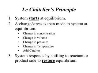 Le Ch�telier�s Principle