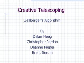 Creative Telescoping