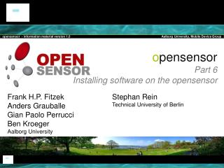 o pensensor Part  6 Installing software on the opensensor