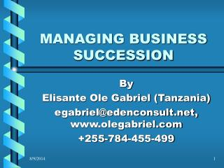 MANAGING BUSINESS SUCCESSION