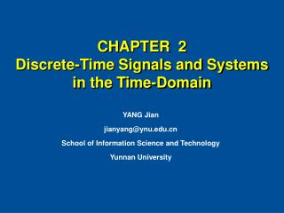 CHAPTER  2  Discrete-Time Signals and Systems in the Time-Domain