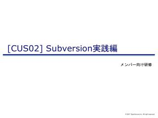 [CUS02] Subversion 実践編