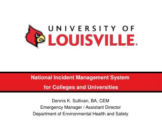 National Incident Management System  for Colleges and Universities