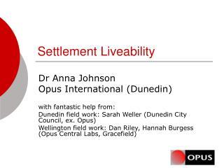 Settlement Liveability