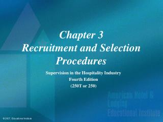 Chapter 3 Recruitment and Selection Procedures