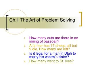Ch.1 The Art of Problem Solving