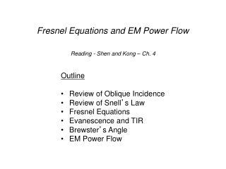Fresnel Equations and EM Power Flow