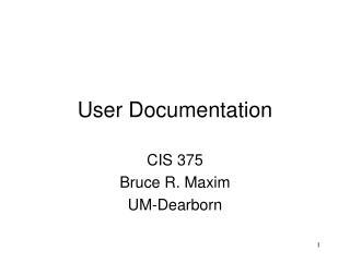 User Documentation