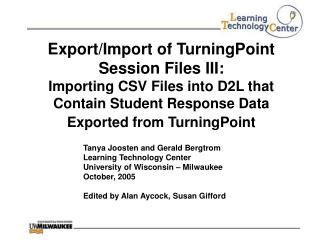 Export/Import of TurningPoint Session Files III: