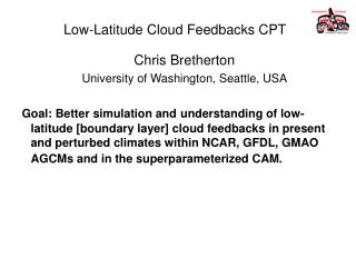 Low-Latitude Cloud Feedbacks CPT