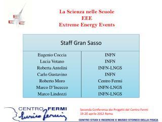 La Scienza nelle Scuole EEE Extreme  Energy  Events