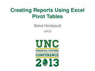 Creating Reports Using Excel Pivot Tables