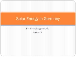 Solar Energy in Germany