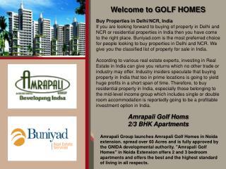 Amrapali Golf Homes Noida Call: Toll Free:- 18001034500